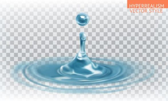 Water splash with drop vector material
