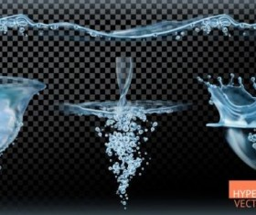 Water tornado with transparency illustration vector set