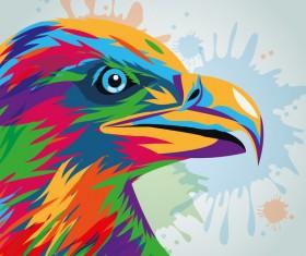 Watercolor eagle hand drawn vector material 02