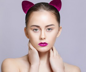 Wear cat ears fresh skin girl HD picture 01
