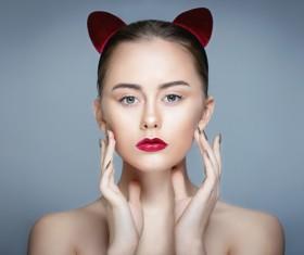 Wear cat ears fresh skin girl HD picture 02