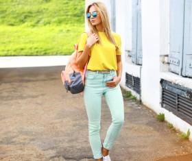 Wearing a sunglasses fashion beauty Stock Photo