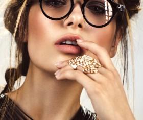 Wearing jewelry with a sunglasses fashion woman Stock Photo 01
