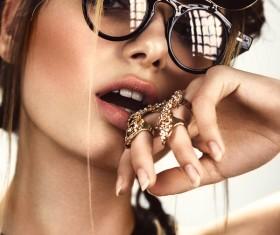 Wearing jewelry with a sunglasses fashion woman Stock Photo 02