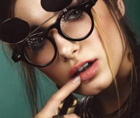 Wearing jewelry with a sunglasses fashion woman Stock Photo 03