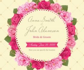 Wedding card with peony and pink roses vectors 04