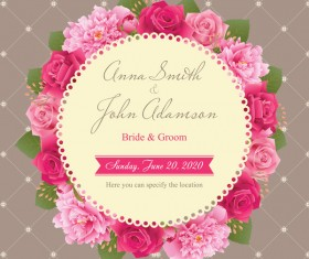Wedding card with peony and pink roses vectors 05