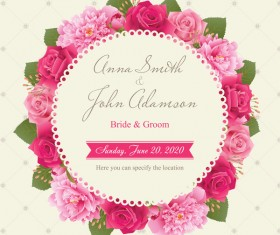 Wedding card with peony and pink roses vectors 06