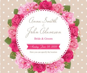 Wedding card with peony and pink roses vectors 07