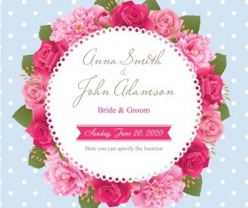 Wedding card with peony and pink roses vectors 08