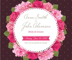 Wedding card with peony and pink roses vectors 10