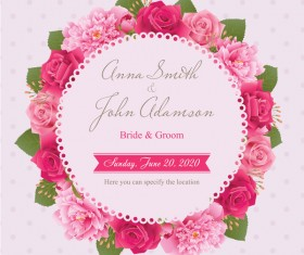 Wedding card with peony and pink roses vectors 11
