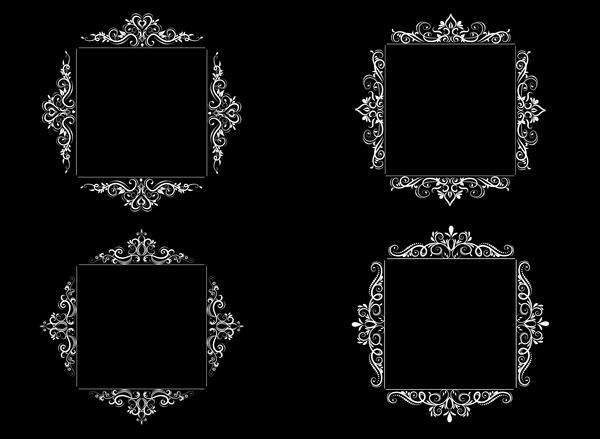 White baroque decor frame retro vector 06