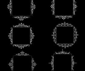 White baroque decor frame retro vector 07