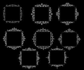 White baroque decor frame retro vector 08