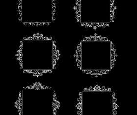 White baroque decor frame retro vector 09