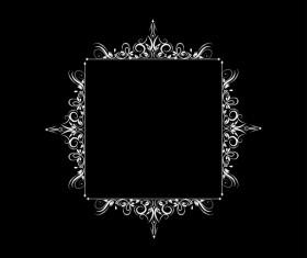 White baroque decor frame retro vector 11