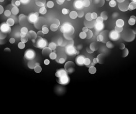 White bokeh effect with black background vector