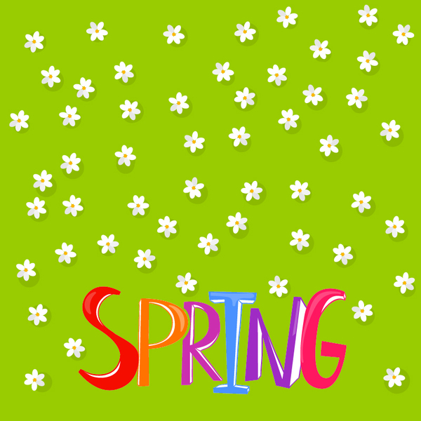 White flower with green spring background vector