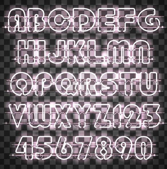 White neon alphabet with number illustration vector