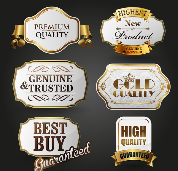 White with golden labels retor vector