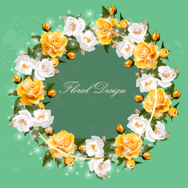 White with yellow rose wreath vector
