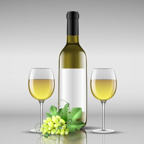 Wine bottle with glass cup vector material 02