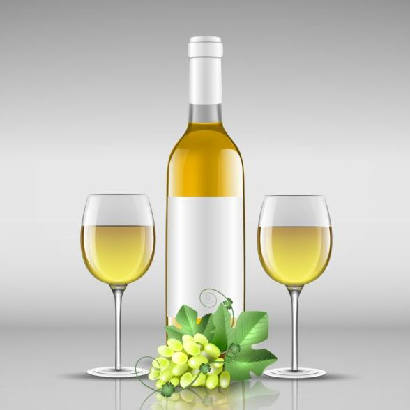 Wine bottle with glass cup vector material 07