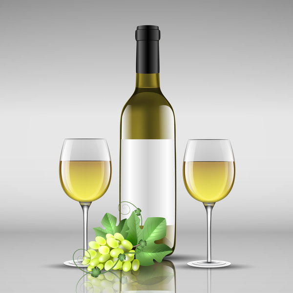 Wine with glass cup vector design 01