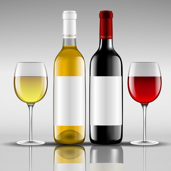 Wine with glass cup vector design 04