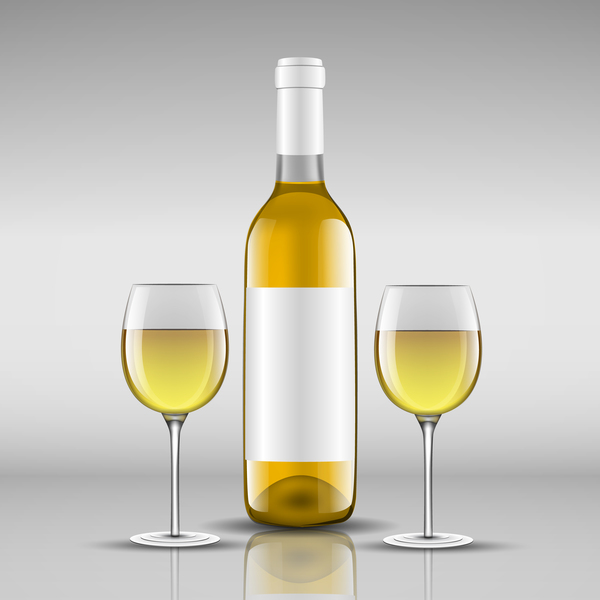 Wine with glass cup vector design 05