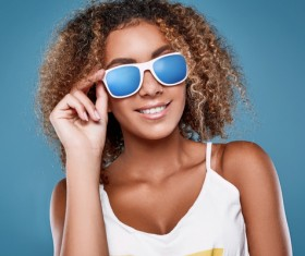 With sunglasses curly girl Stock Photo