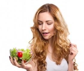 Woman holding vegetable salad HD picture