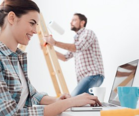 Working husband and wife of the internet Stock Photo
