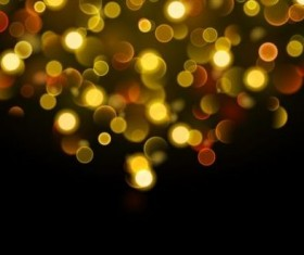 Yellow bokeh effect with black background vector