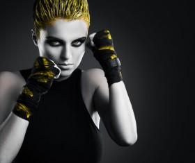 Yellow hair female boxer Stock Photo