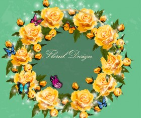 Yellow rose wreath with butterflies vector