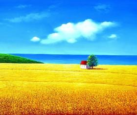 Yellow wheat field landscape painting Stock Photo