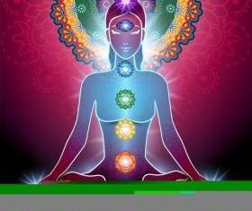 Yoga Lotus Position and Chakra vector