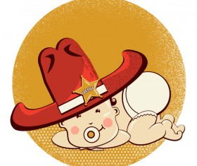 baby with cowboy western hat vector