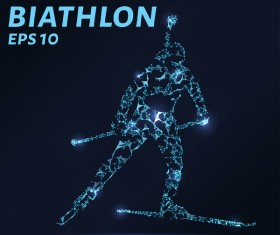 biathlon with points lines 3D vector