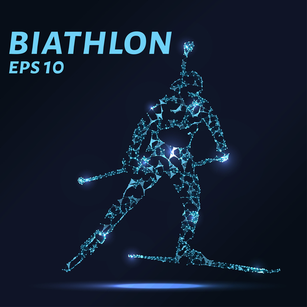 biathlon with points lines 3D vector