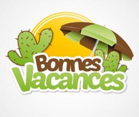 bonnes vacances with beach umbrella illustration vector 01