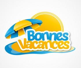 bonnes vacances with beach umbrella illustration vector 02