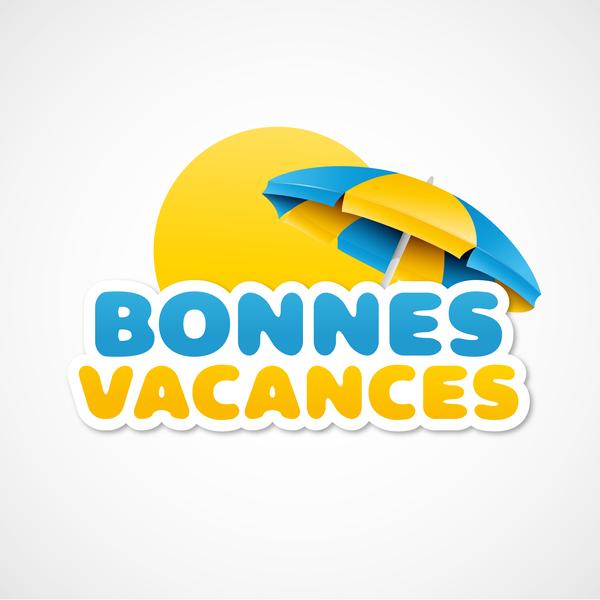 bonnes vacances with beach umbrella illustration vector 03