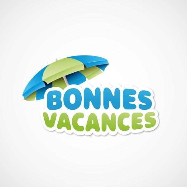 bonnes vacances with beach umbrella illustration vector 04