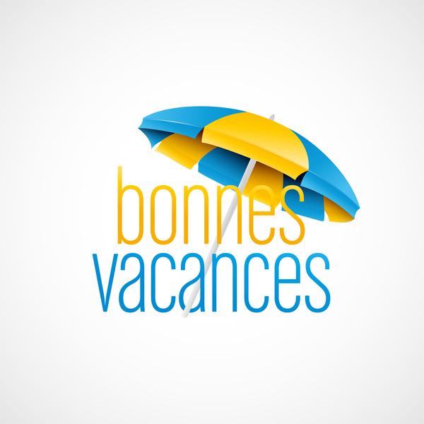 bonnes vacances with beach umbrella illustration vector 05