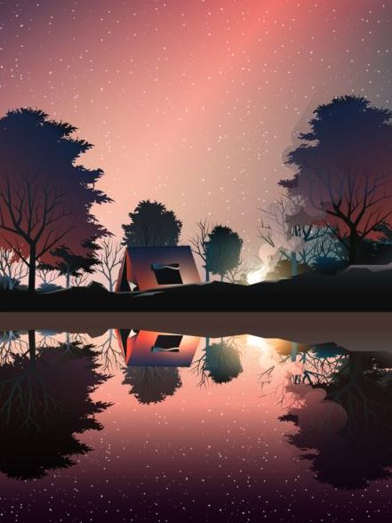 camping in deep wood near lake at dusk vector