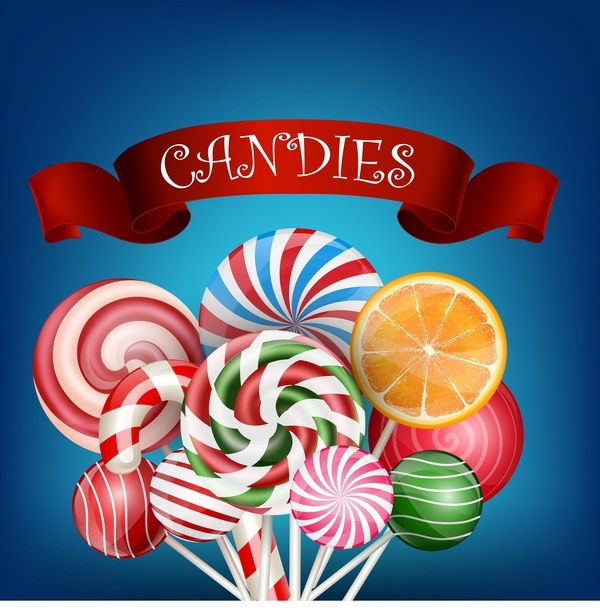 candies with red ribbon vector background