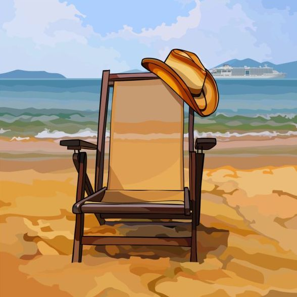 chaise lounge with a hat on sandy beach vector background
